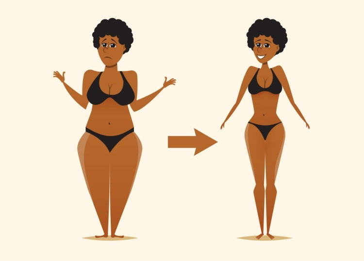 fat-and-skinny-black-woman-after-the-diet-vector-14132668